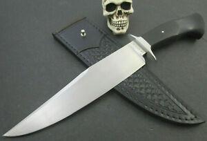 Custom Mozolic Knives Hand Forged W2  Bowie Fighter Ebony Wood Tooled Sheath WOW