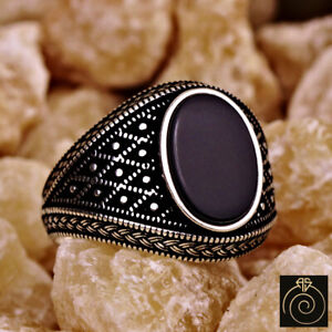Black Natural Gemstone Onyx Vintage Silver Handmade Mens Ring Unique Anniversary