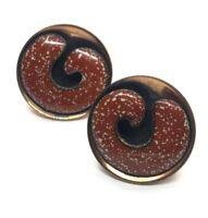 Vintage Copper Earrings Unsigned Matisse Renoir Enamel Round Pierced Red
