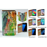 For Samsung Galaxy Series - Oil Paint Theme Print Wallet Mobile Phone Case Cover