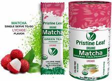 Organic Matcha Green Tea Powder | Lychee Flavored | No Sugar | 12 Single Serving