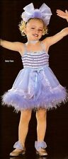 Baby Face Dance Costume Marabou Trim Tap Blue Dress New Clearance Child X-Small