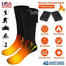 Battery Powered Electric Heated Socks Boot Feet Warmer Long Winter Outdoor w/Box