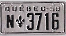 🌟🌟🎼🎶🎶 🌟🌟🌟  AUTHENTIC CANADA 1958 QUEBEC  LICENSE PLATE.