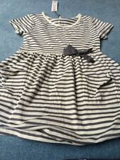 BNWT GIRLS MARKS AND SPENCER INDIGO RANGE GREY STRIPED TUNIC DRESS Age 10