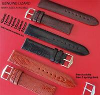 REPLACEMENT GENUINE  LIZARD LEATHER  STRAP BLACK/ BROWN FIT Jaeger le Coultre