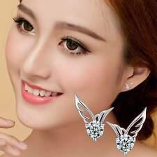 Crystal Angel Wings Butterfly Ear Stud 925 Sterling Silver Womens Girls Earrings