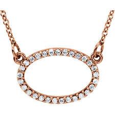 Diamante horizontales OVALADO 40.6cm Collar en 14k oro rosa ( 1/6 Ct. TW