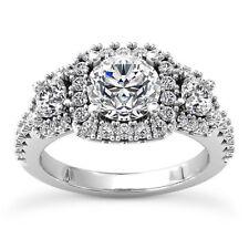 Halo 3 Stone 1.50 Carat SI2/E Round Cut Diamond Engagement Ring 14k White Gold