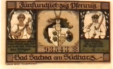 1921 Germany  BAD SACHSA 75  Pnennig  Notgeld / Banknote