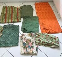 VINTAGE MID CENTURY CURTAIN FABRIC BUNDLE ODDMENTS UPHOLSTERY CRAFTS CHAIRS