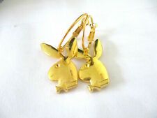 PLAYBOY BUNNY RABBIT HOOP EARRINGS. GOLD 20MM