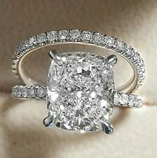 Gorgeous 5.00 Ct Cushion Cut Diamond Platinum Engagement Ring Set H,VS2 GIA