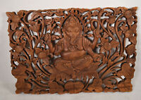 "Ganesha Carved Wooden Panel 22 1/2"" x 15 1/2""  Large Wood Relief Wall Art Lotus"