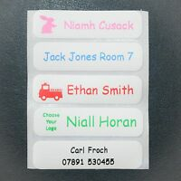 50 Peel & Stick Printed School Name Labels Stationery Containers Lunchboxes