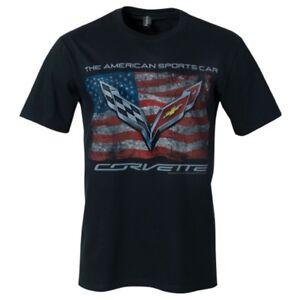 C7 Corvette Distressed American Flag Black Cotton T-Shirt