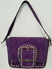 Italian purple suede shoulder bag silver buckles;Vittoria Pacini STUNNING COLOR