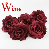 12cm Wine Large Artificial Rose Silk Flower Heads For Wedding Decoration DIY