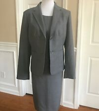 KASPER Women 2 PC Elegant Light Gray Dress Suit Jacket Size 14