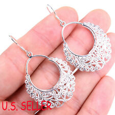 ##BUY 1 GET 1 FREE## Gracious 925 Sterling Silver Filigree Lace Dangle Earrings