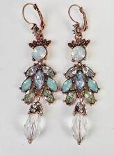 Chandelier Ohrhänger Vintage Strass Acryl Glas türkis grün blau klar antik gold