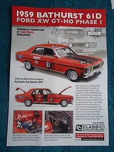 CLASSIC CARLECTABLES 1:18 BROCHURE 1969 BATHURST 61D FORD XW GT-HO PHASE 1