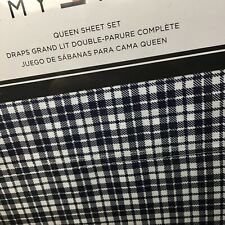 Tommy Hilfiger QUEEN Sheet Set Navy Blue White Menswear Check Plaid 4pc Free 📦