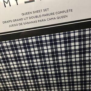 Tommy Hilfiger QUEEN Sheet Set Navy Blue White Menswear Check Plaid 4pc Free 📦