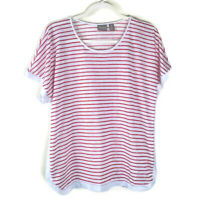 Chico's Red White Stripe Top Shirt Blouse Women's Size 3 = XL Short Sleeve Sheer