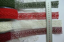 CROCHET LACE - 35mm wide - 2 Metre Lengths Green Tara - 4 Colour Choice AR6