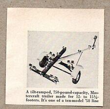 1958 Magazine Photo Mastercraft Tilt Boat Trailers for 12 to 15 1/2 ft Boats