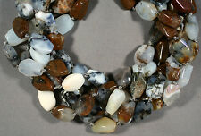 """FUN AMETHYST SAGE DENDRITIC AGATE 15MM FREEFORM FACETED NUGGET BEADS 16""""  STR"""