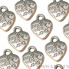 10 Tibetano Plata Antigua hecha con amor encanto del corazón colgante perla 10mmx12mm ts65