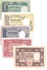Italia 5 Banconote: 50,100,100,500,1000 Lire BARBETTI (Riproduzione/copy)