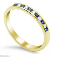 14K Yellow Gold Blue Sapphire Diamond wedding band ring 0.26 carats Anniversary