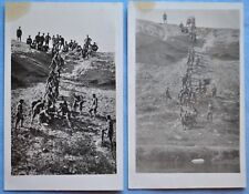 Two Rppc of Early 1900's Artillery Men Pulling Cannon Up A Hill w/ Rope