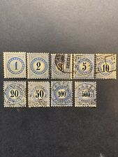1878-80 SWITZERLAND POSTAGE DUE STAMPS, SC#J1-J9