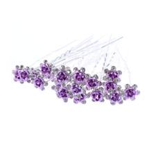 Lot de 3 épingles chignons fleur violette et strass , bijou de cheveux mariage