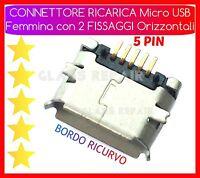 CONNETTORE RICARICA Micro USB 5 PIN - 2 PIEDINI ORIZZONTALI x TABLET SMARTPHONE