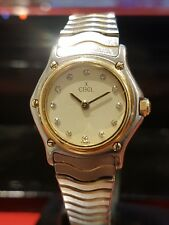 EBEL Ladies Sports Wave Watch,18ct Yellow Gold/Steel with Diamond Dot Dial