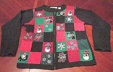 WOMEN'S VICTORIA JONES ZIP UP UGLY CHRISTMAS PARTY SWEATER GAUDY SIZE S SNOWMEN