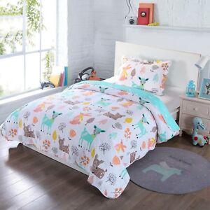 100% Cotton Kids Quilt Bedspread Comforter Set Throw Blanket for Girls Deer