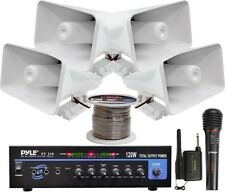 NEW Pyle KTHSP330 120W PA Amplifier System with Horn Speakers & Wireless Mic