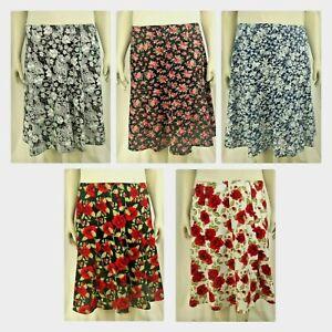 women's patterned short skirts elasticated back. sizes (12-24)