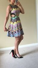 Dress Sexy Cut Out Side Print Art Abstract Multicolor Hippie Rave Geometric L/XL