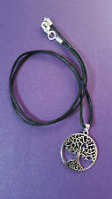 "Tree of Life Tibetan silver pendant necklace 18"" Corded. Pagan, Wiccan,BoHo"