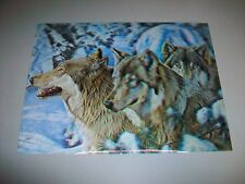 "3D Moving Lenticular Wolf Wolves Picture 15 9/16"" by 11 5/8"""