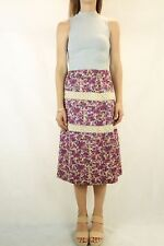 VINTAGE Purple Ivory Floral Lace 1970s Handmade Skirt Size XS/S 8-10