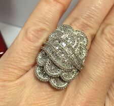 "1"" Sterling Silver 2 - 3 Carat Diamond Pave Cocktail Cluster Wedding Ring 6 1/4"