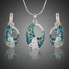 Platinum Plated Blue Silver Made With Swarovski Crystal Earring Necklace Set 684